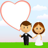 Cute cartoon wedding couple with background