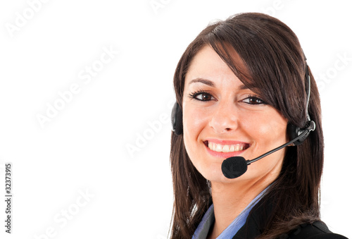 Female phone operator isolated on white