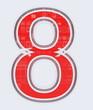 chiffre 8 sur fond blanc