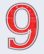 chiffre 9 sur fond blanc