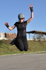 Skate roller high jump