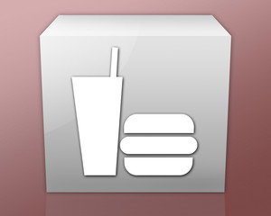 "Box-shaped Icon (red b/g) ""Fast Food"""