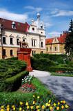 Brasov City-Hall and wolf statue, Transylvania, Romania poster