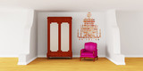 Cupboard with luxurious chair and silhouette of chandelier poster