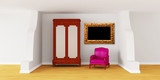 Cupboard with chair and ornate frame in modern interior poster