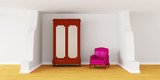 Cupboard with luxurious chair in modern interior poster