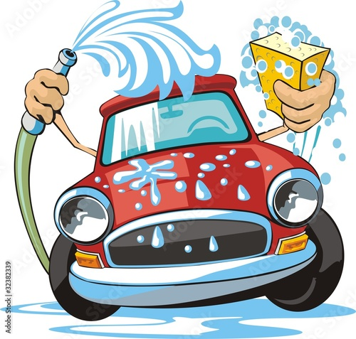 car washing sign with sponge and hose