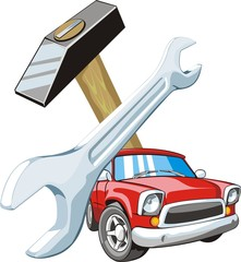 car on background of the wrench and gavel