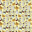 cartoon coffee seamless pattern