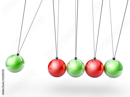 Christmas newton's cradle side view