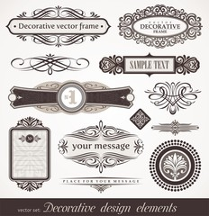 Decorative vector design elements, page & book decor
