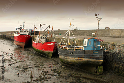 3 Fishing Boats At Low Tide Dublin