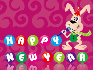 Rabbit singing to celebrate the New Year, greeting cards