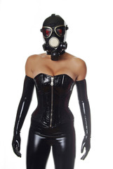 Black Fetish Corset, Latex Gloves and GasMask