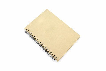 Recycle Notebook brown cover paper isolated white background