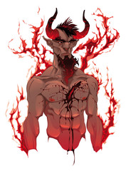 Devil. Demon's portrait. Vector isolated illustration.