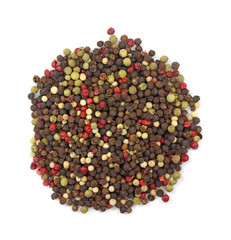 Assortment of red green black peppercorns