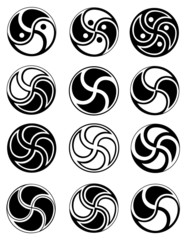 Creative symbols in style of ying yang