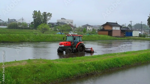 tractor in a rice field