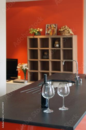 Cuisine moderne rouge et noir 23 photo libre de droits sur la b - Cuisine moderne rouge et noir ...