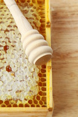 wooden box with natural honeycombs and honey