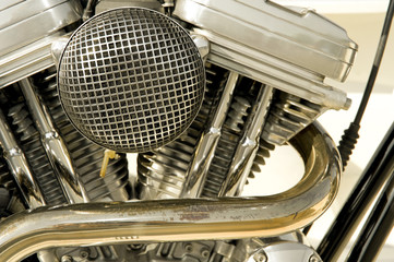 motorcycle engine cylinders and filter closeup