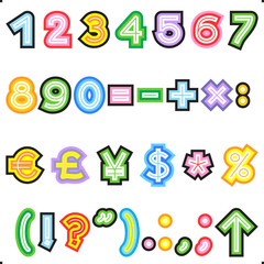 Striped letters alphabet set - numerals, marks, currency