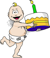 Cartoon image of a baby running with a birthday cake.