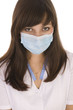 young woman doctor wearing a surgical maske