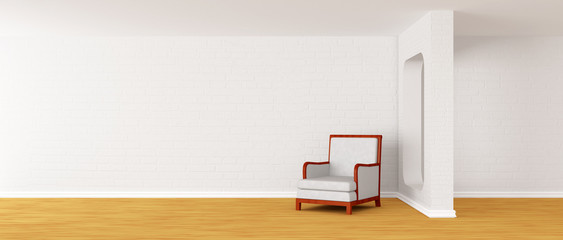 alone white armchair in modern minimalist interior