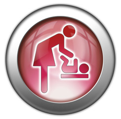 "Red glossy 3D effect button ""Baby Change"""
