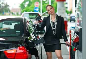 woman in gas station
