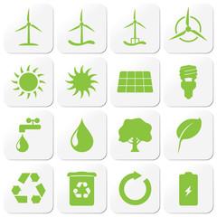 iconset 1 - quadratische buttons grün - Erneuerbare Energien