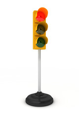 Red traffic light over white background