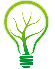 green bulb lamp with tree