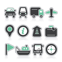 travel and transport contour icons