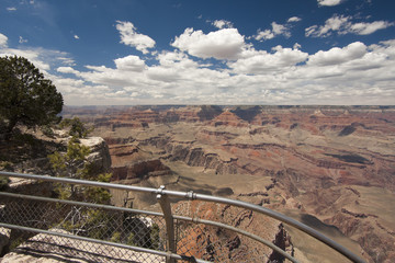 Beautiful Grand Canyon Landscape View Tourist Railing