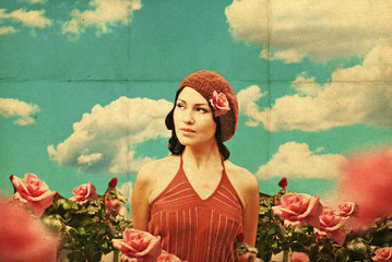 vintage collage with beauty young woman in roses