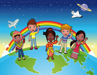 Children on the world. Vector isolated characters and items.