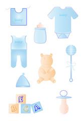 Objetos de bebe en color azul