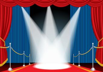 blue curtain three spots