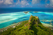 Leinwanddruck Bild - View on the peak mountain, Maupiti, French Polynesia