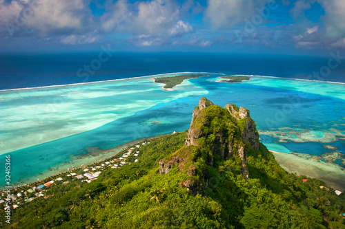 Leinwanddruck Bild View on the peak mountain, Maupiti, French Polynesia