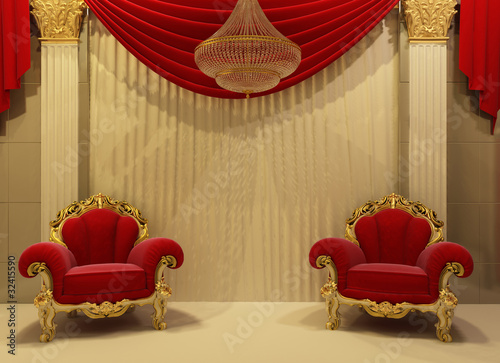 Baroque furniture in royal interior