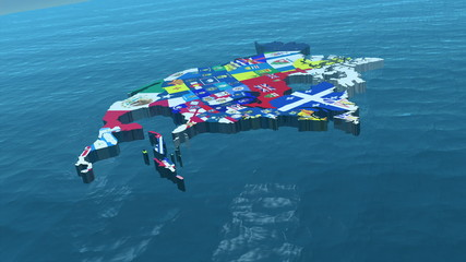 3D HD USA with State Flags in the Sea Wide