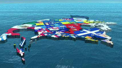 3D HD USA with State Flags in the Sea Close Up