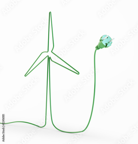 Electric cord shaped like a windmill
