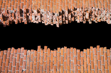 Broken brick wall with copyspace for your text