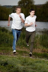 Young friends jogging