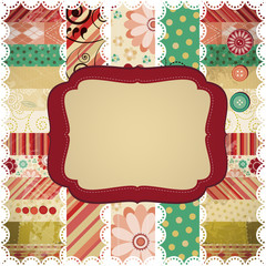 Scrap background made in the classic patchwork technique.
